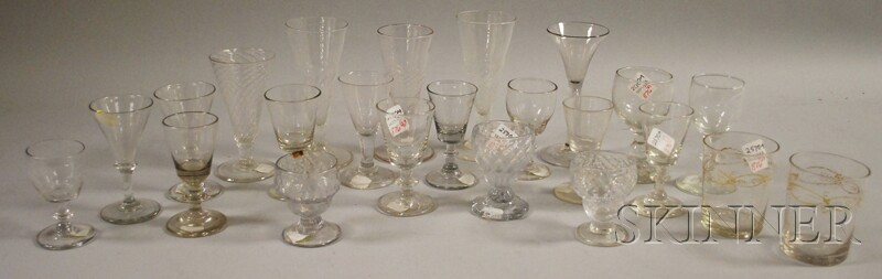 Twenty-three Early Blown and Blown-molded Colorless Glass Drinkware Items