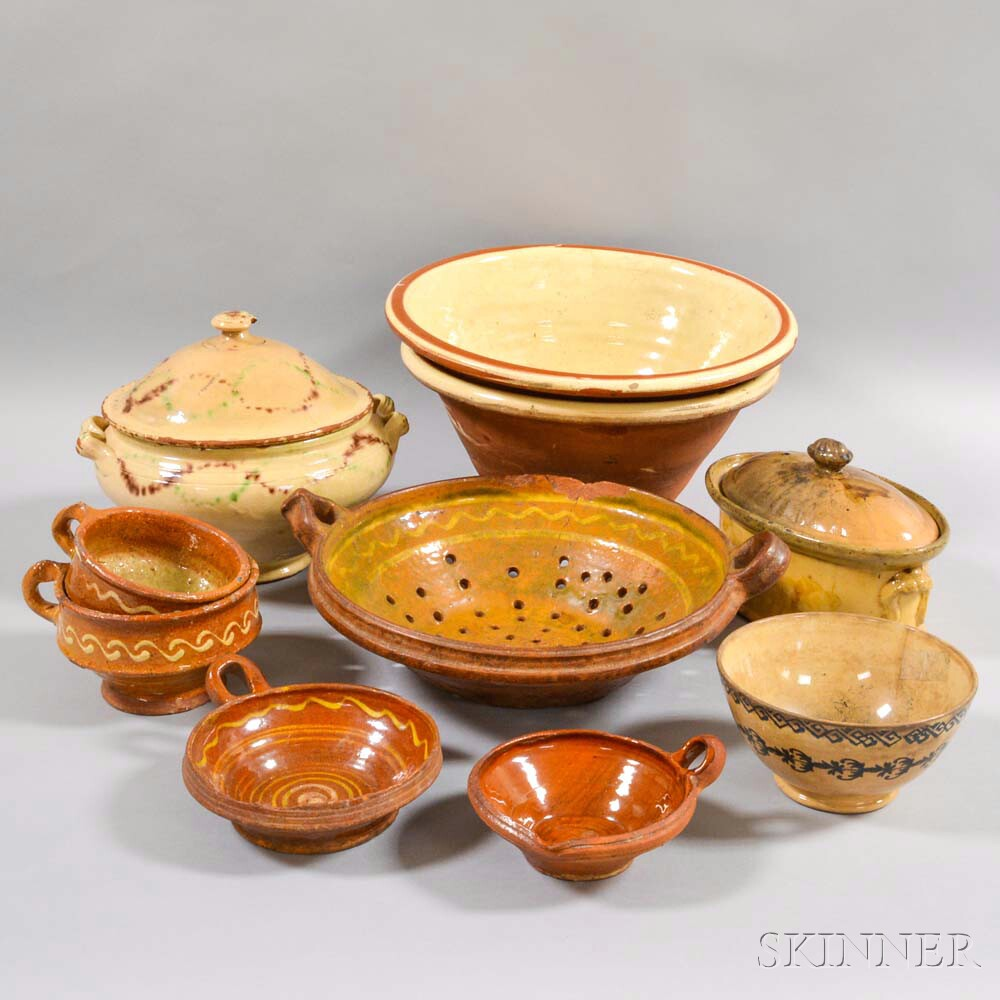 Ten Pieces of Glazed Pottery