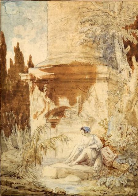Hubert Robert (French, 1733-1808)    Figure Seated Before a Monument
