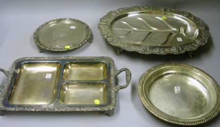 Group of Six Silver Plate Trays