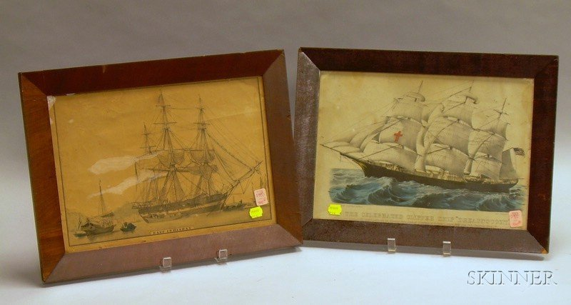 Two Framed Hand-colored Sailing Ship Lithographs