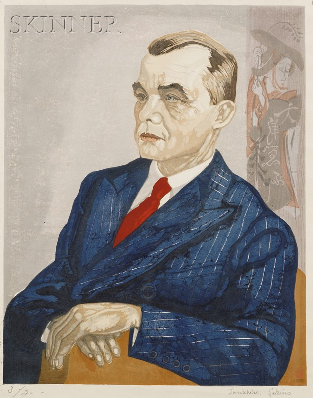 Junichiro Sekino (Japanese, 1914-1988)      Lot of Three Portraits: Gentleman Seated