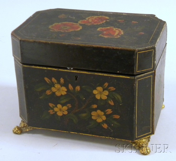 Painted and Floral Decorated Trinket Box