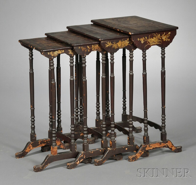 Nest of Four Chinese Export Lacquered Tables