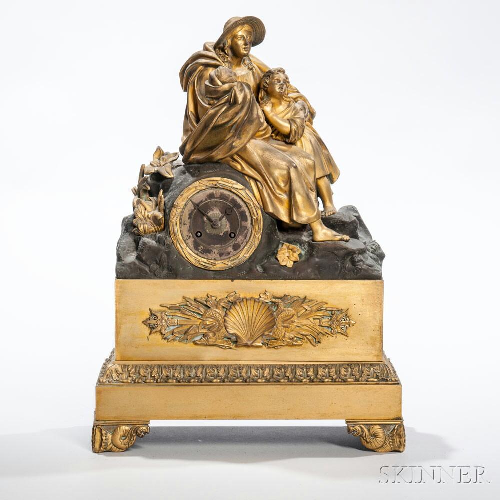 French Brass Figural Mantel Clock