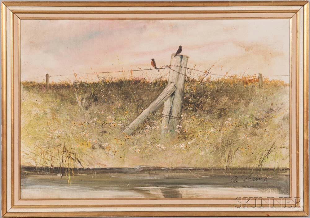 Adolf Sehring (American, b. 1930)      Meadow with Robins on a Fence.