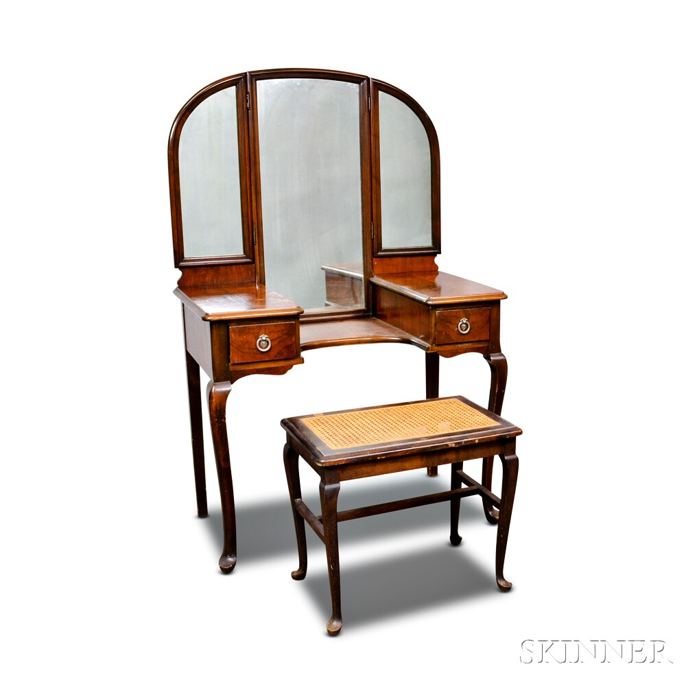 Colonial Revival Mahogany Veneer Lady's Dressing Table and a Caned Bench.     Estimate $60-80