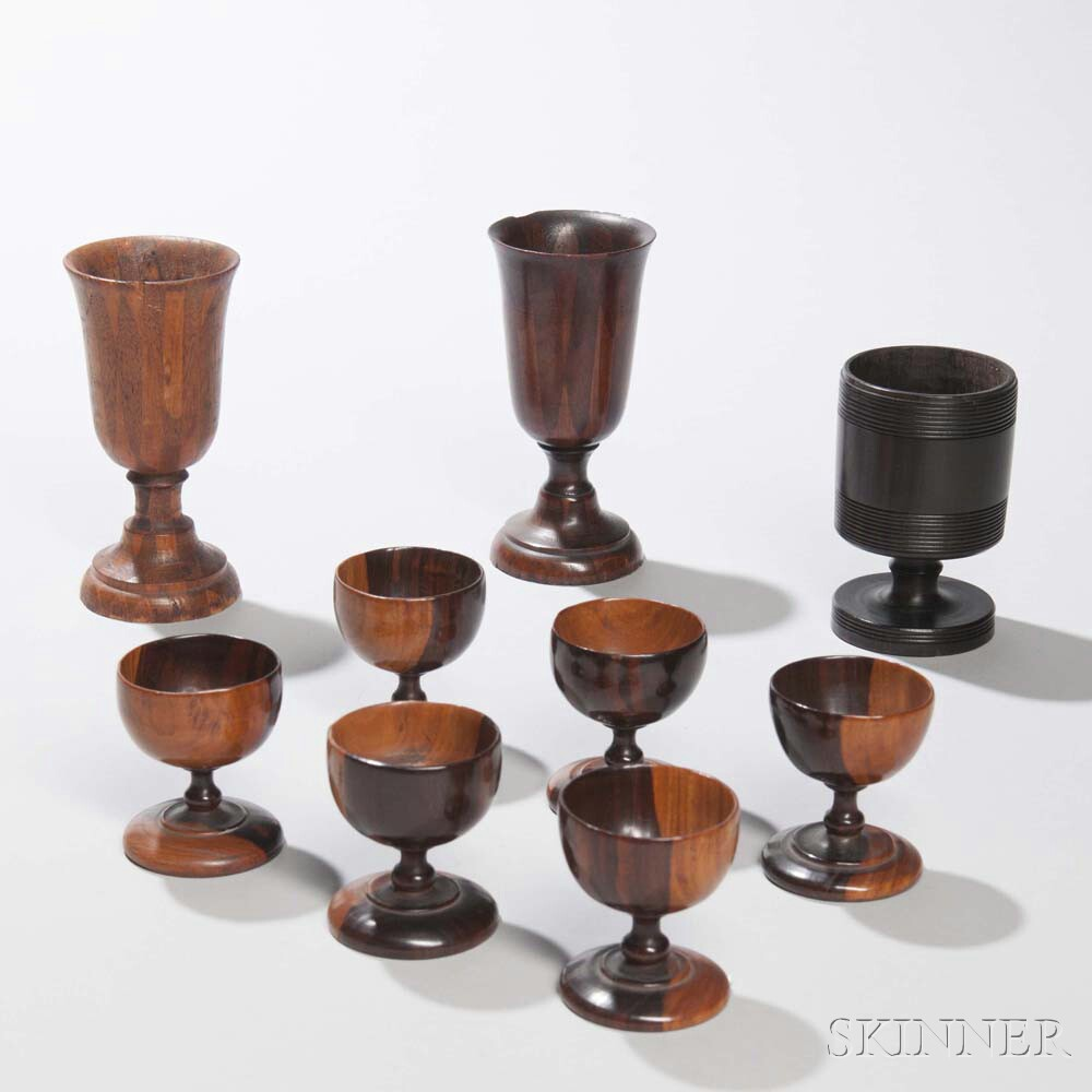 Nine Treen Cups and Goblets