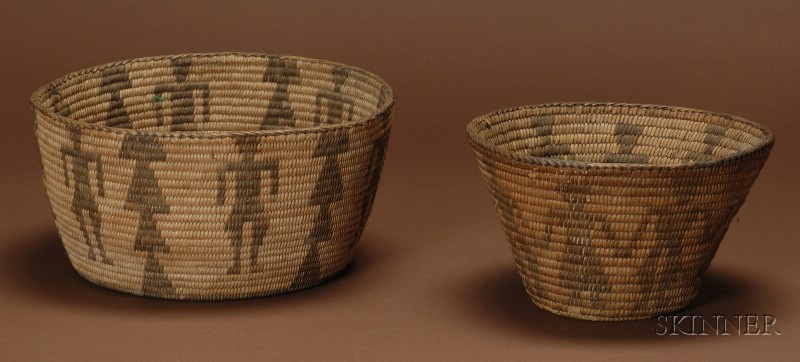 Two Southwestern Coiled Pictorial Basketry Bowls
