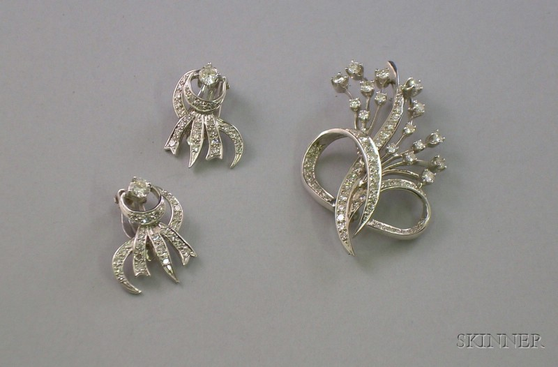 14kt White Gold and Diamond Brooch and Earclips Suite.