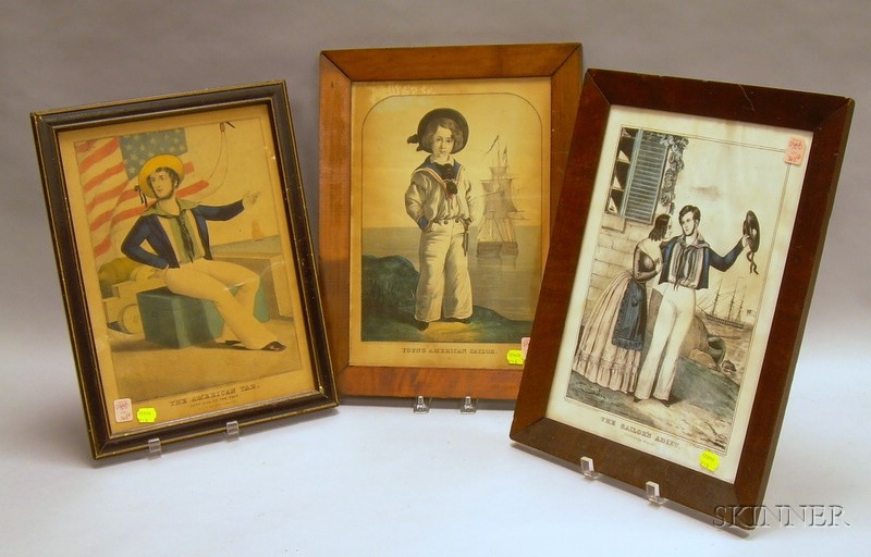 Three Framed Hand-colored Lithographs