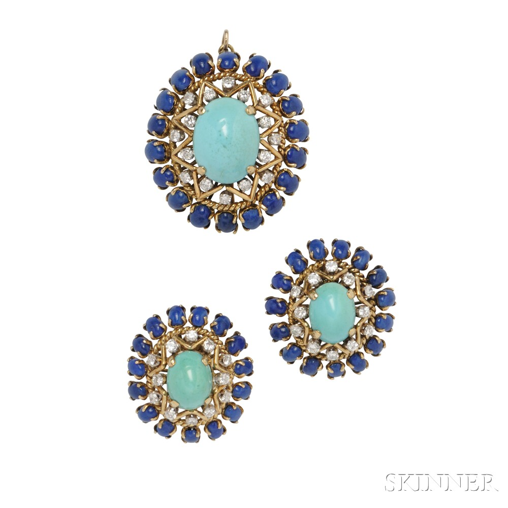 18kt Gold, Turquoise, and Lapis Suite