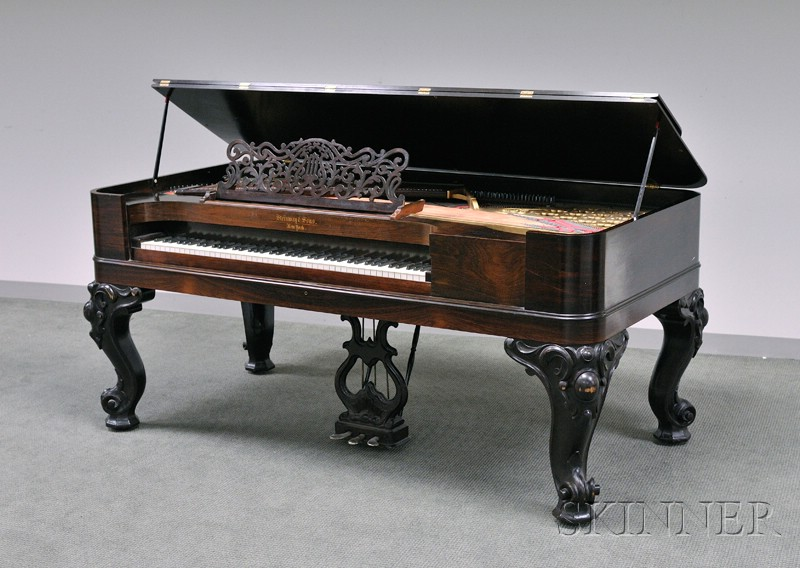 Steinway & Sons Rococo Revival Ebonized Carved Wood and Rosewood Veneer Square   Piano