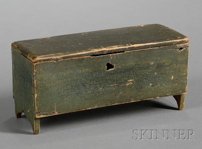 Miniature Green-painted Pine Blanket Chest