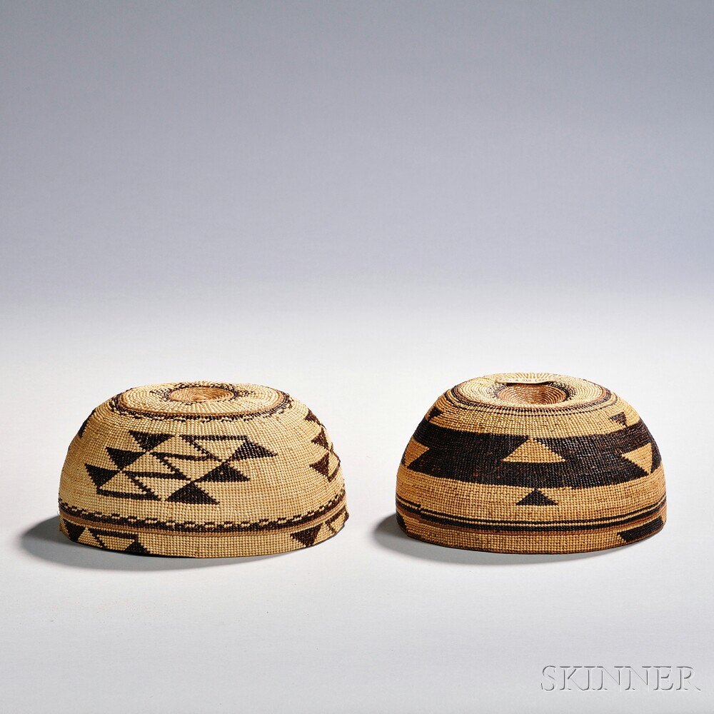 Two Northern California Twined Hats