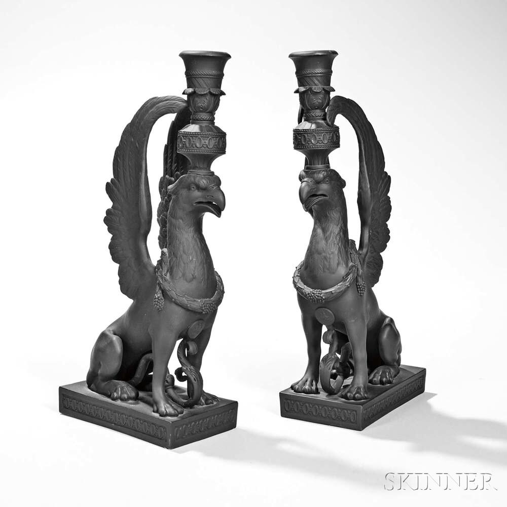 Pair of Wedgwood Black Basalt Griffin Candlesticks