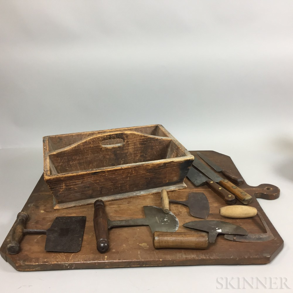 Large Cutlery Box and Large Cutting Board with Three Knives and Five Food Choppers