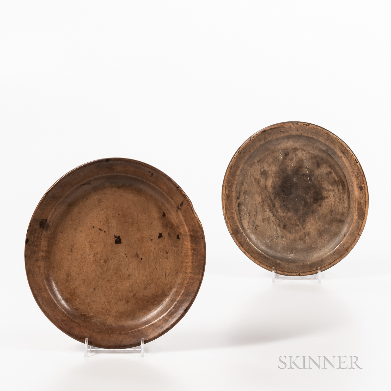 Two Turned Wooden Plates