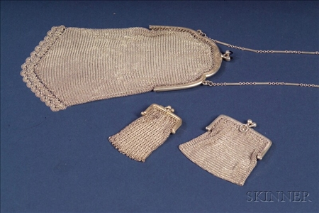 Two Continental .800 Silver Mesh Lady's Purses