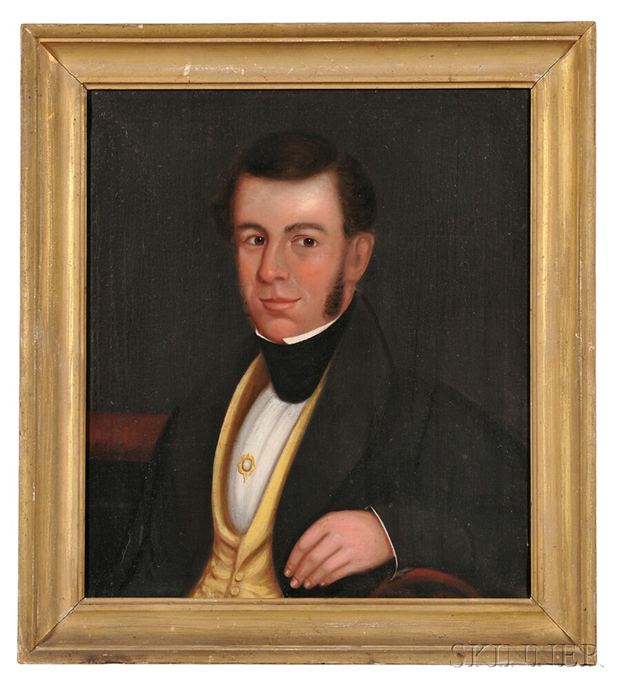 American School, 19th Century      Portrait of Thomas Leavitt, of East Hingham and Wolfeboro, New Hampshire.