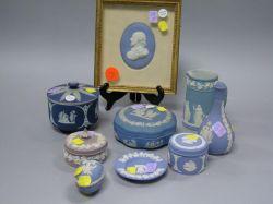 Nine Wedgwood Light Blue, Dark Blue and Lilac Jasper Table Articles.