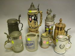 Collection of Eight Stoneware, Glass, Pewter and Ceramic Steins