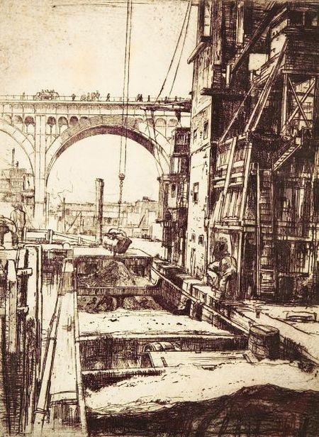 Earl Horter (American, 1881-1940)    Construction in New York.