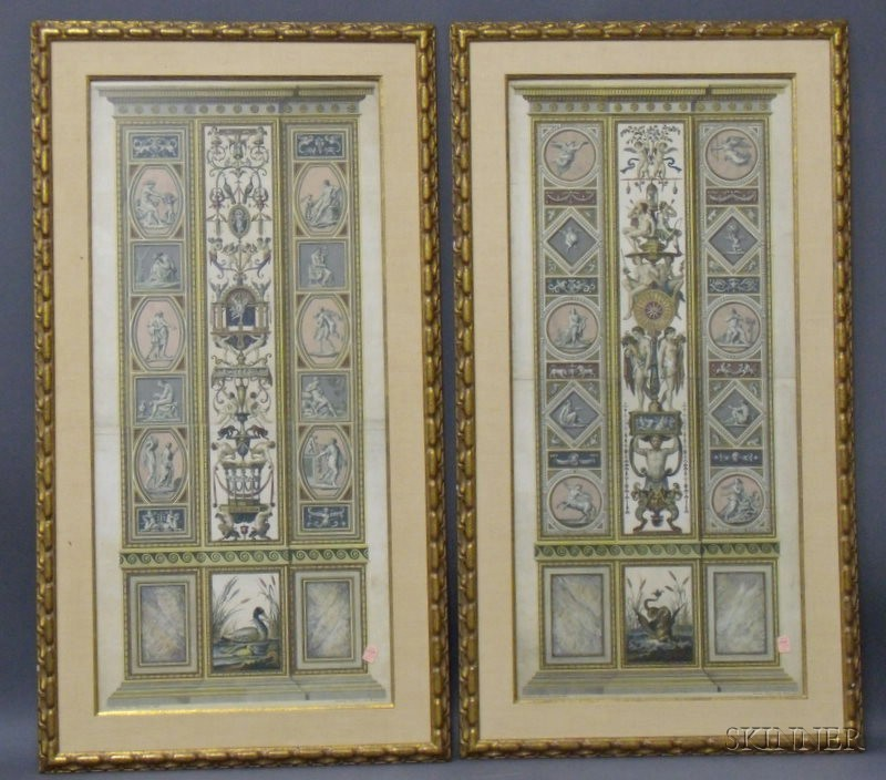 Pair of Large Hand-colored Book Plate Engravings
