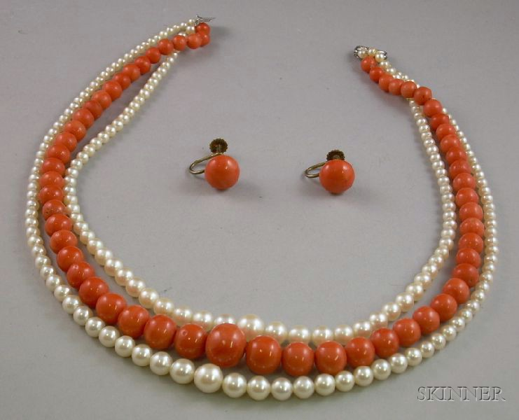 Triple-Strand of Coral Beads and Pearls and a Pair of Coral Button Earclips.
