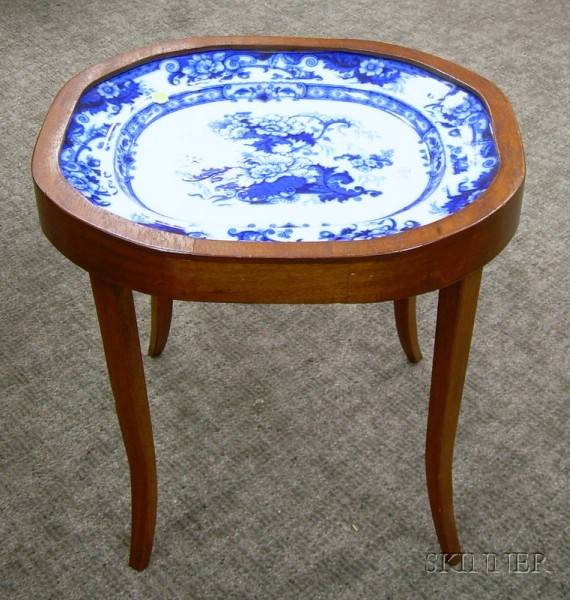 Cauldon Flow Blue Transfer Ironstone Platter in Regency-style Mahogany Stand.