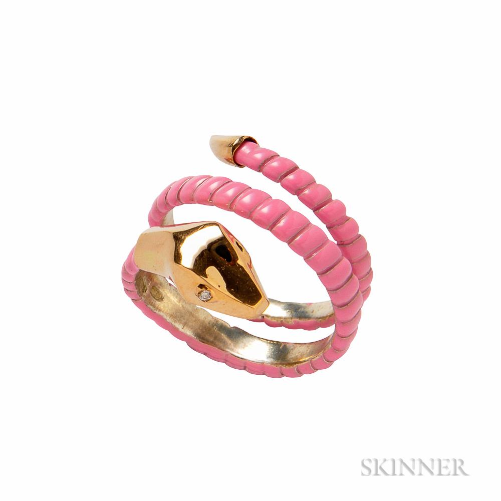 Pink Enamel Snake Ring