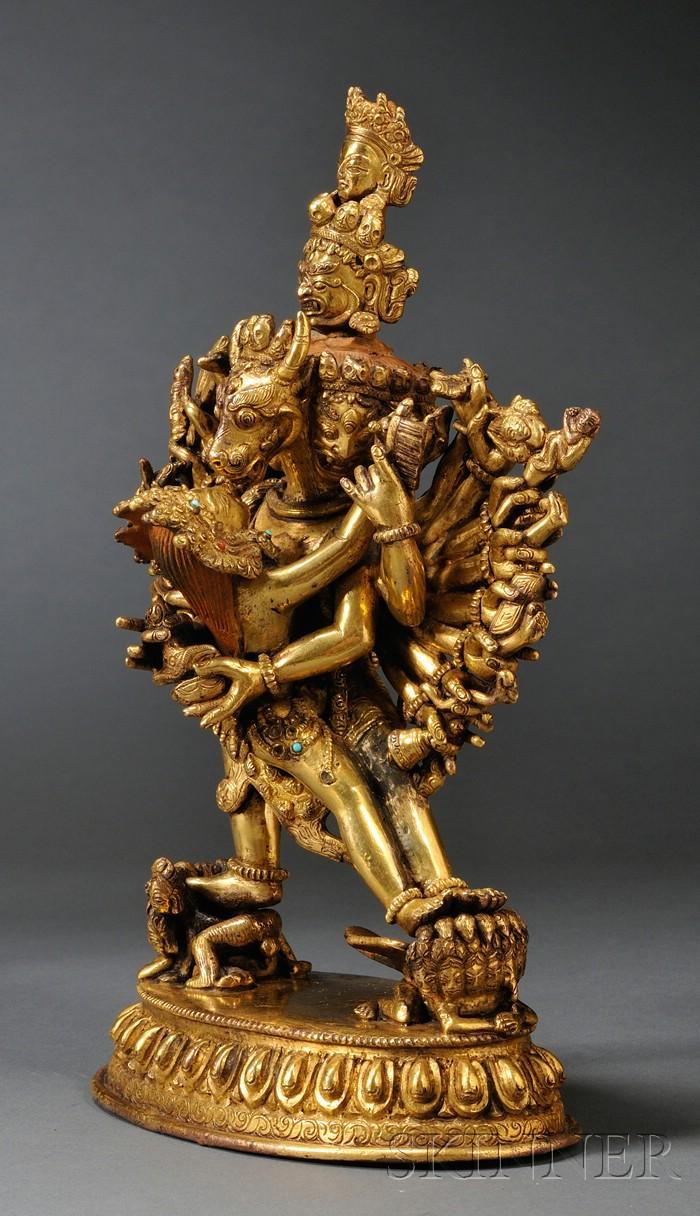 Gilt-bronze Yamataka Yab-yum Group