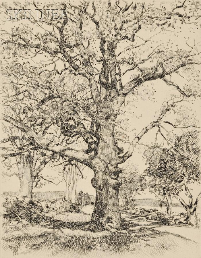 Frederick Childe Hassam (American, 1859-1935)      Wayside Inn - Oaks in Spring