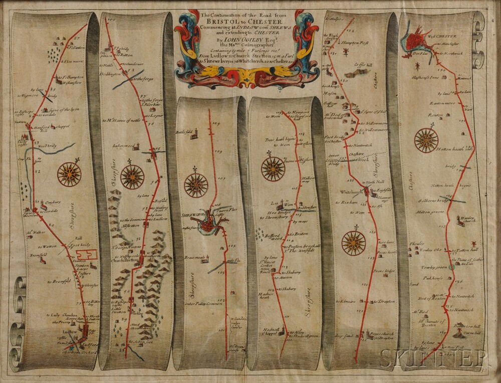 Ogilvy, John (1600-1676) The Continuation of the Road from Bristol to Chester.