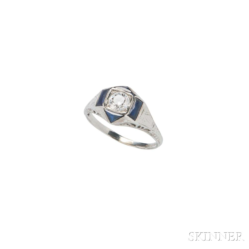 Art Deco 18kt White Gold, Diamond, and Sapphire Ring