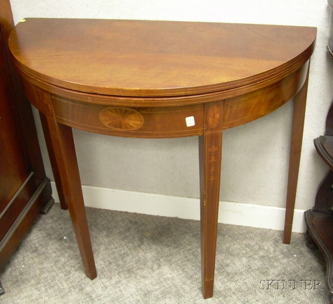 Federal-style Inlaid Mahogany Demilune Card Table.