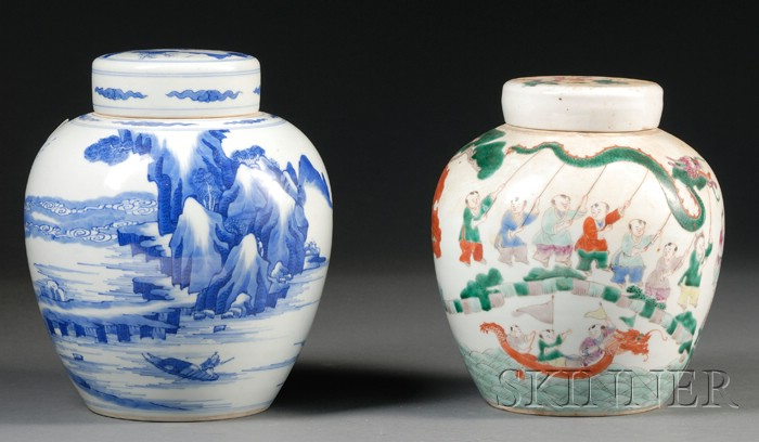 Two Porcelain Jars and Covers