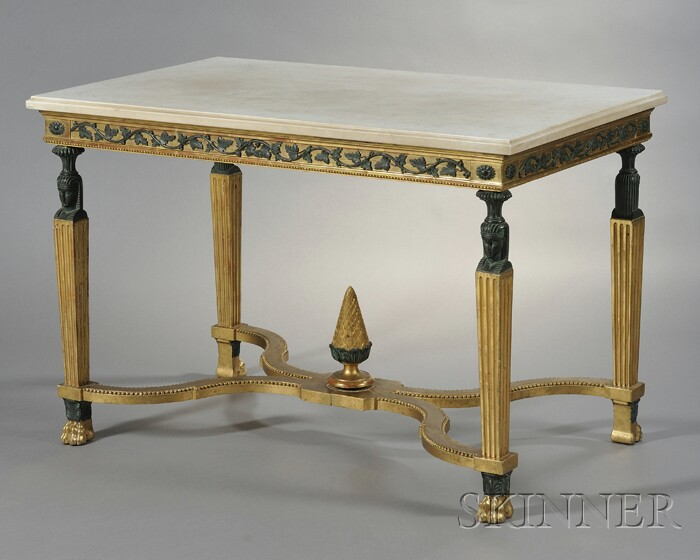Swedish Empire Marble-top Giltwood Center Table