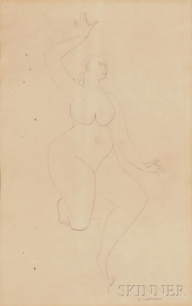Gaston Lachaise (American/French, 1882-1935)      Female Nude, Kneeling with one Leg Extended and One Arm Raised