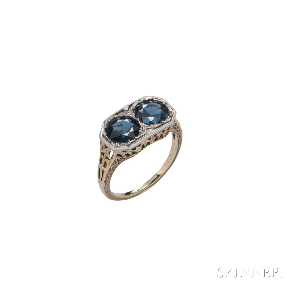 Art Deco 14kt Bicolor Gold and Sapphire Filigree Ring