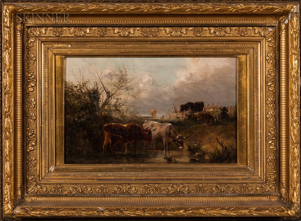 American School, 19th Century    Cows Watering