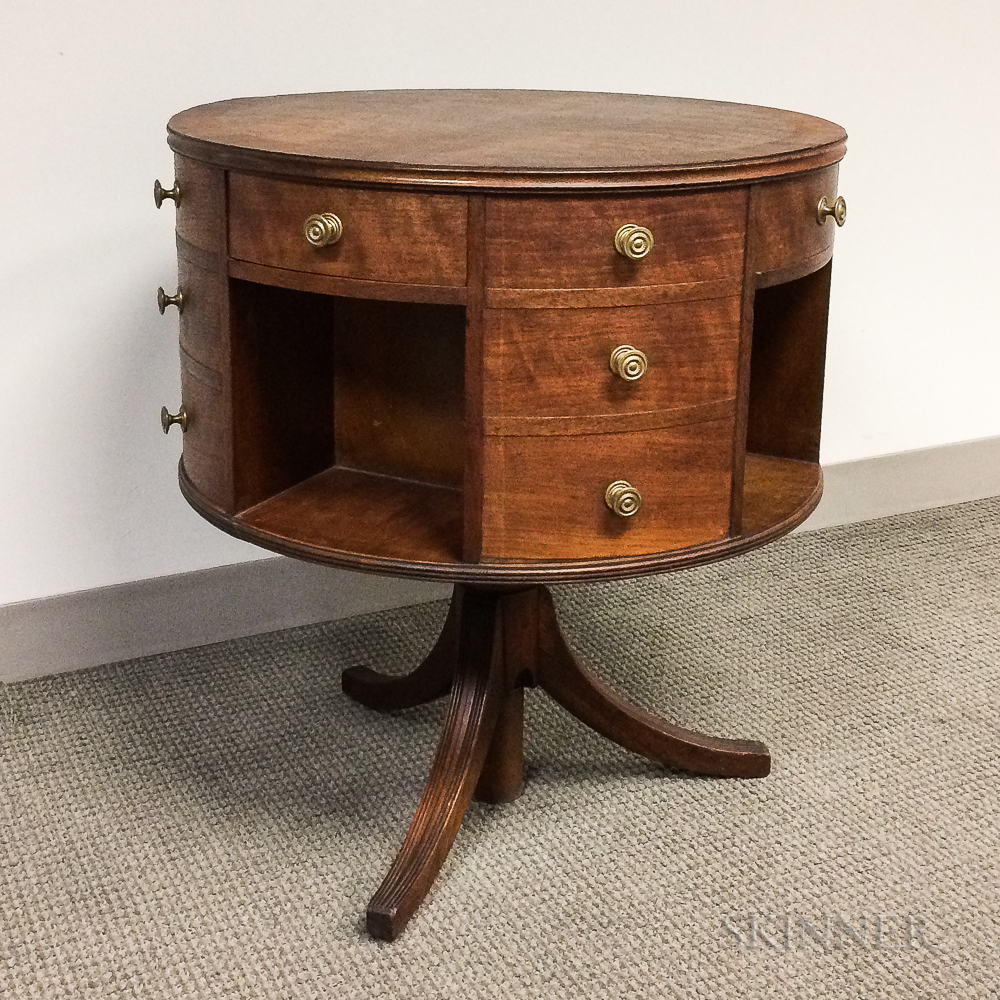 Regency-style Mahogany and Elm Veneer Revolving Drum Table