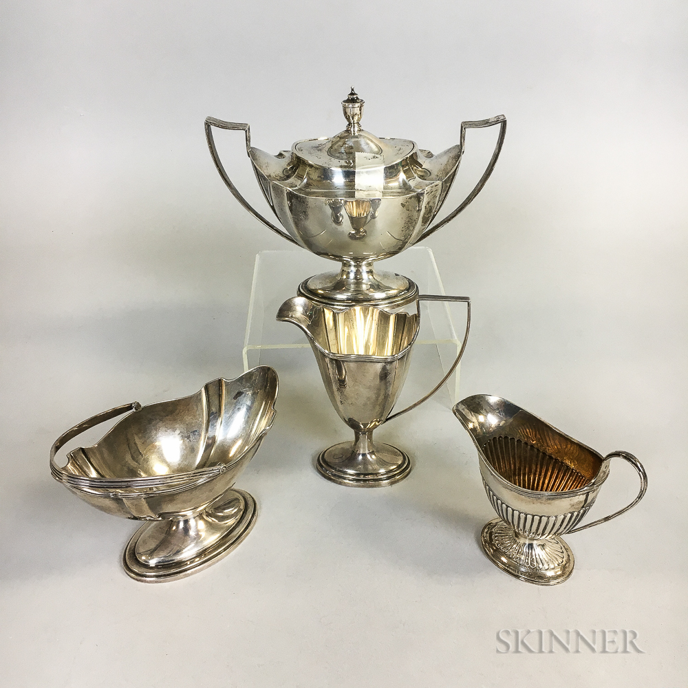 """Three Pieces of Gorham """"Plymouth"""" Sterling Silver Tea Items and an English Sterling Silver Creamer"""