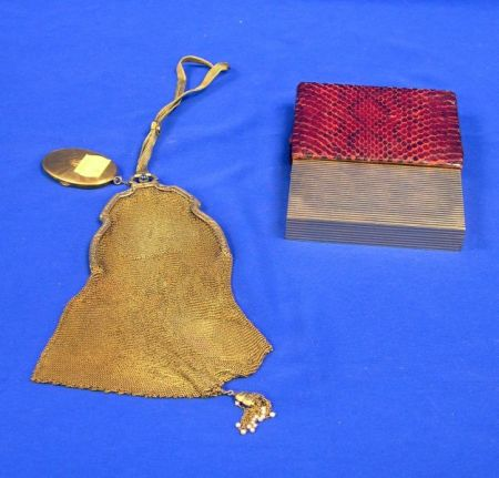 French 14kt Gold Mesh Purse and a 14kt Gold Cigarette Case with Reptile Skin Slip Case.