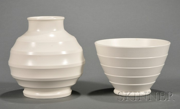Two Wedgwood Keith Murray Annular Ware Vases