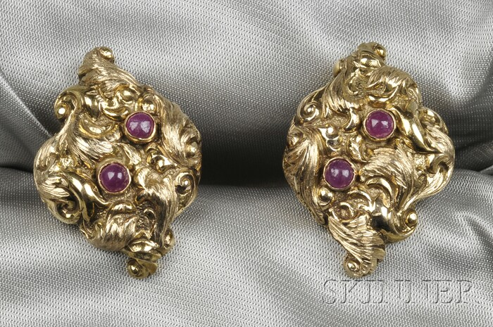 14kt Gold and Ruby Cuff Links