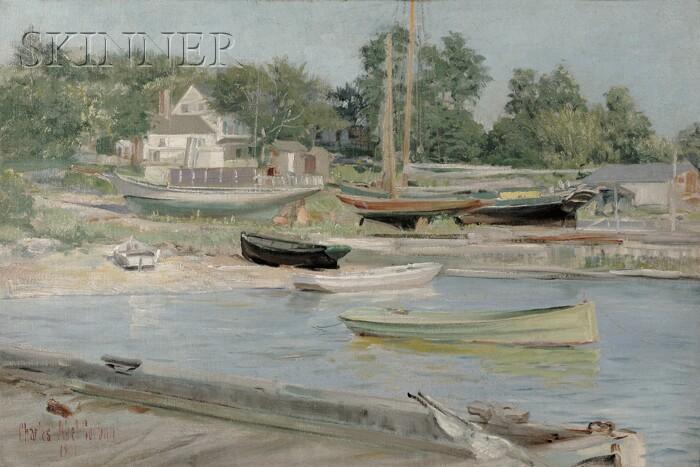Charles Abel Corwin (American, 1858-1938)      Ship Ways, Northport, L.I.
