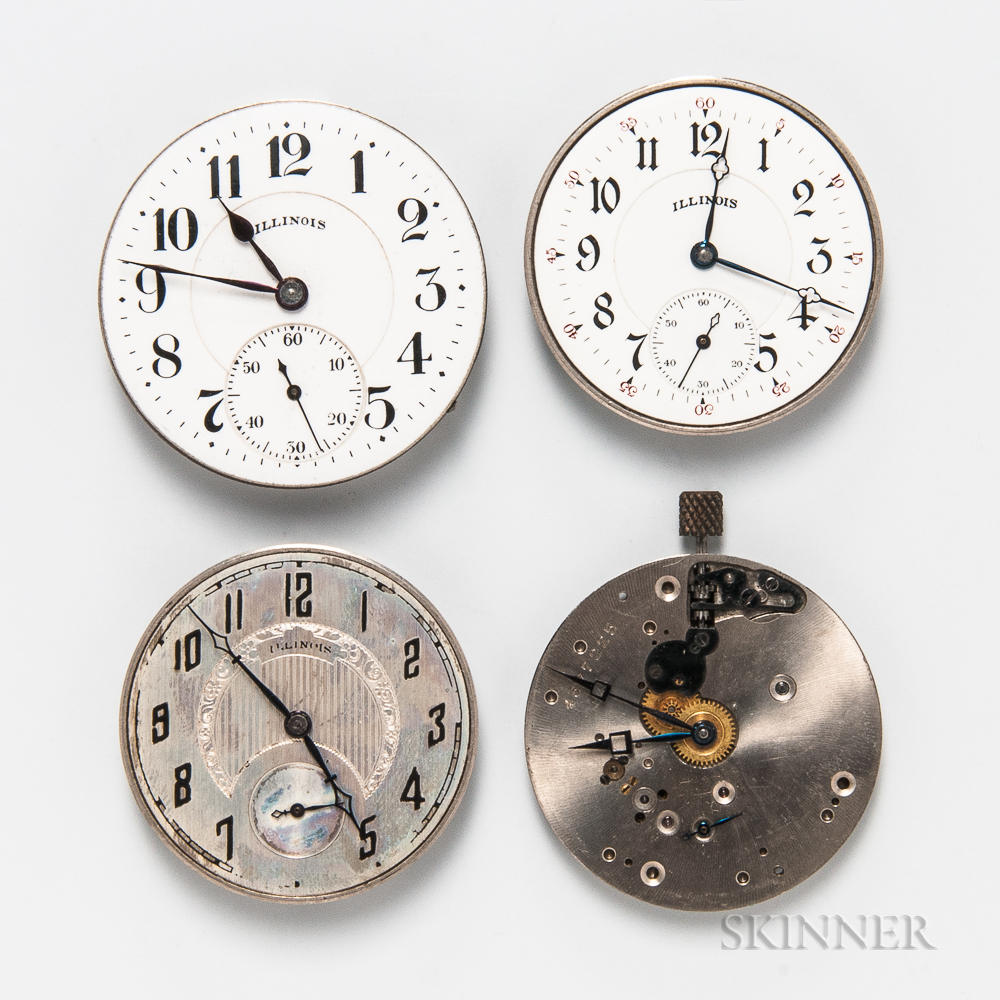 """Four Illinois """"A. Lincoln"""" Watch Movements"""