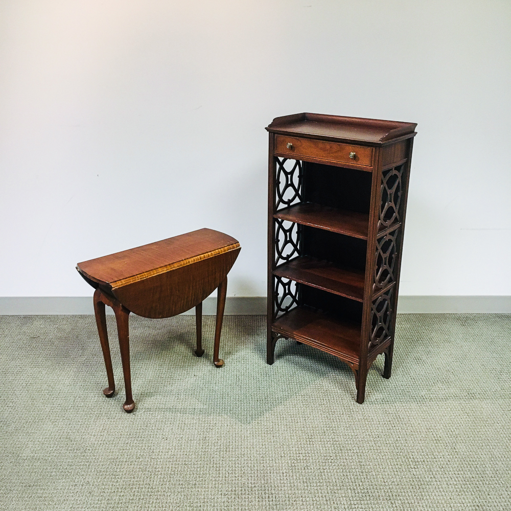 Diminutive Tiger Maple Drop-leaf Table and Georgian-style Mahogany Etagere.     Estimate $100-200