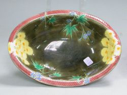 Wedgwood Floral Majolica Oval Bowl.